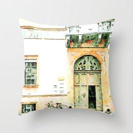 Faenza: door balcony and bicycle Throw Pillow