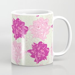 Peony Illustrated Pattern In Dreamy Pinks and Mint Green Coffee Mug