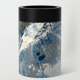 Wander [3]: a vibrant, colorful abstract in blues, pink, white, and gold Can Cooler