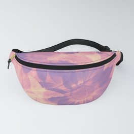 Ghost butterflies in an abstract purple and pink landscape Fanny Pack