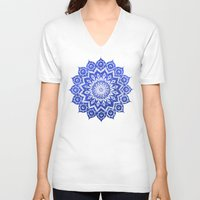 jazzberry blue V-neck T-shirts featuring ókshirahm sky mandala by Peter Patrick Barreda