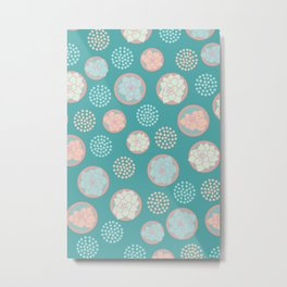 Succulent Pattern #1 | Green Background Metal Print
