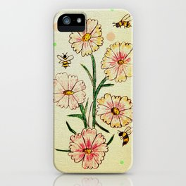 Cosmo Flowers with Bees iPhone Case