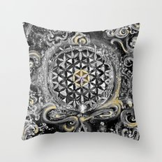 Manipura°^Golden Waves in Snowy Space Throw Pillow