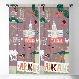 Illustrated map of Arkansas, USA. Travel and attractions Blackout Curtain