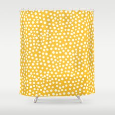 DOT PATTERN - yellow and white Shower Curtain