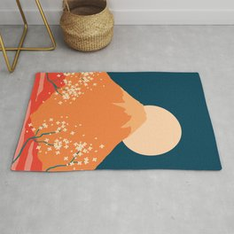 Japanese Mount Fuji Retro Pop Art Landscape Rug