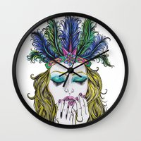 indiana Wall Clocks featuring INDIANA by Rachel E Murray