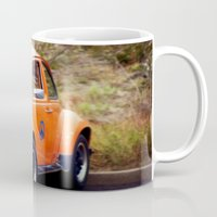 volkswagon Mugs featuring Peace Bug in Color by Dena Brender Photography