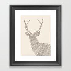 Stag / Deer (On Beige) Framed Art Print