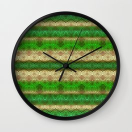 paisley ribbon in forest green Wall Clock