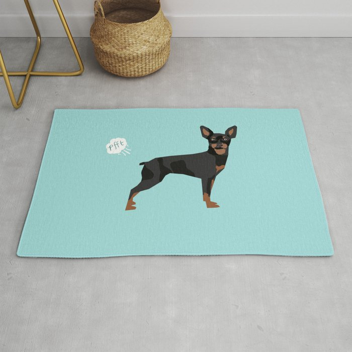 min pin miniature doberman pinscher farting dog cute funny dog gifts pure  breed dogs Rug by petfriendly