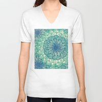 floral V-neck T-shirts featuring Emerald Doodle by micklyn
