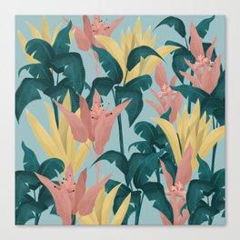 Tropical Plants Blue Background Canvas Print