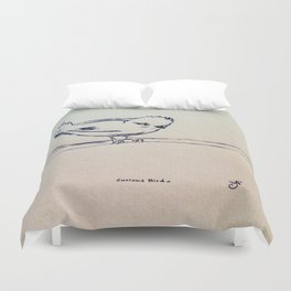 Curious Bird Ink Drawing Duvet Cover