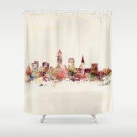 ohio Shower Curtains featuring cleveland ohio skyline by bri.buckley
