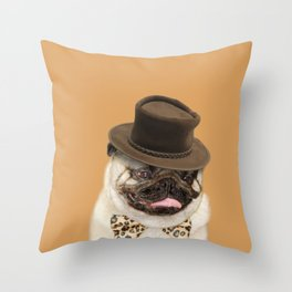 Dog pug with hat Throw Pillow
