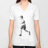 soccer V-neck T-shirts featuring Soccer sketch by Pato