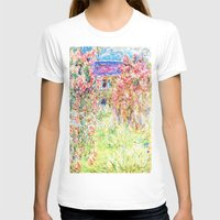 monet T-shirts featuring MONET : The House Among the Roses  by PureVintageLove