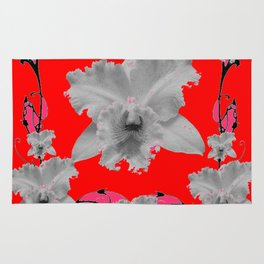 MODERN ART RED ART NOUVEAU WHITE ORCHIDS ART Rug