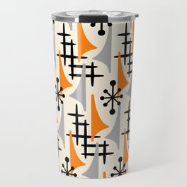 Mid Century Modern Atomic Wing Composition Orange & Gray Travel Mug
