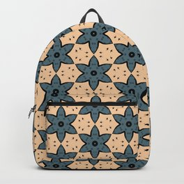 Blue Flower Kaleidoscope Pattern on Beige Background Backpack