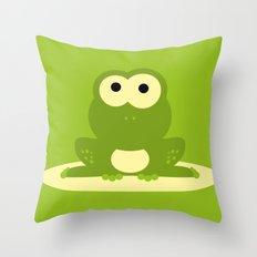 Minimal Frog Green Throw Pillow