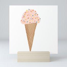 Pink Ice Cream with Rainbow Sprinkles Mini Art Print