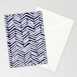 Indigo Herringbone Brush Strokes Stationery Cards