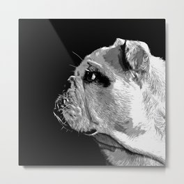 english bulldog dog vector art black white Metal Print