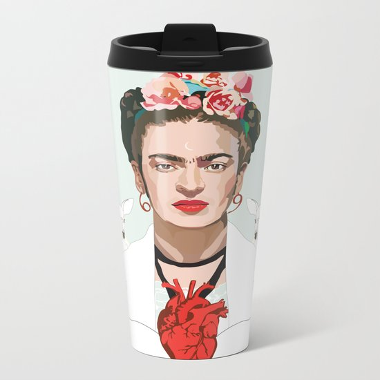 Frida Kahlo (Light) Metal Travel Mug