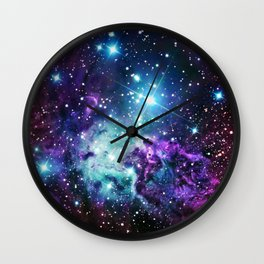 Fox Fur Nebula : Purple Teal Galaxy Wall Clock