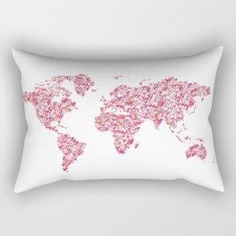 World Map Poster, Pink Hearts, Nursery Decor, Vanity Art Rectangular Pillow