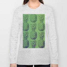 Pineapples, tropical fruit pattern design in green Long Sleeve T-shirt