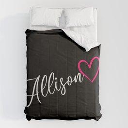 Allison Name Calligraphy Heart Comforters