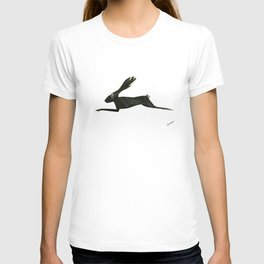 Leaping Rabbit Collage, Black Onyx & Feathers T-shirt