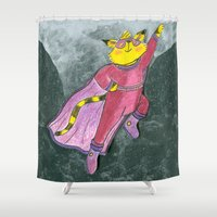 superhero Shower Curtains featuring Superhero Cat by Annie Moor
