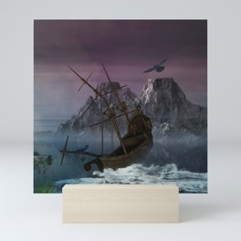 Awesome shipwreck in the night Mini Art Print