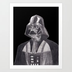 Darth Vader [Grayscale on Black] Pencil Art Print
