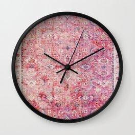 N45 - Pink Vintage Traditional Moroccan Boho & Farmhouse Style Artwork. Wall Clock