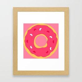 Cute Food Art Simple Pink Donut Framed Art Print
