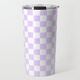 Large Chalky Pale Lilac Pastel Color and White Checkerboard Travel Mug