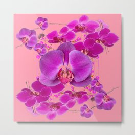 Modern Purple Moth Orchids Coral Color Metal Print