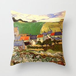 View of Auvers, Vincent van Gogh. Throw Pillow