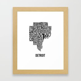 Detroit Typography map poster - White Framed Art Print