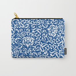 Blue Tudor Rose Damask Carry-All Pouch