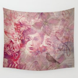 Lost Moments Woman Nostalgic Portrait In Shades Of Red Wall Tapestry