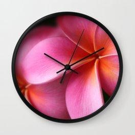 Pua Lei Aloha Cherished Blossom Pink Tropical Plumeria Hina Ma Lai Lena O Hawaii Wall Clock