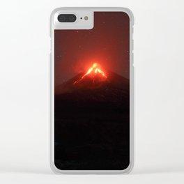 Illuminated tourist tent at night on background of erupting Klyuchevskaya Sopka Clear iPhone Case