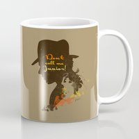 indiana jones Mugs featuring Don't call me Junior! – Indiana Jones Silhouette Quote by Spades